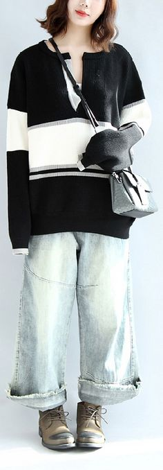 cotton-sweater-oversize-black-white-knit-pullover