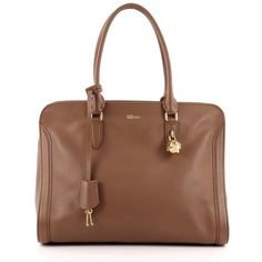 Pre-Owned Alexander McQueen Padlock Zip Around Tote Leather Medium (€720) ❤ liked on Polyvore featuring bags, handbags, tote bags, brown, brown leather tote, leather handbags, leather purses, leather tote handbags and leather zipper tote