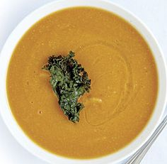 Chickpea Soup with Crispy Kale-- #soup #stew #recipe