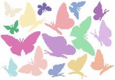 Regenbogenfarbene Schmetterlinge - Coricamo - Willkommen in einem Online-Shop, Kanevas mit Aufdruck, Graphisches Muster, Selbständiger Ausdruck