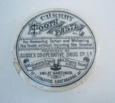 Old Cherry Toothpaste Sussex Co-op Drug Co Pot Lid - Brighton, Hove, Hastings