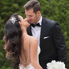 Beautiful couple Hair done by me. Makeup artist @lauren_damelio and headpiece by @bridalstylesboutique