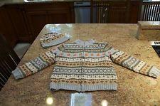 "L ""Janie and Jack Halloween Pumpkin Fall Zip up Sweater & Hat Size 5T"""