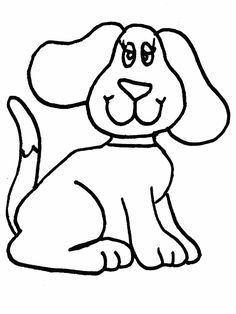 Simple Animal Coloring Pages | Simple dog coloring page