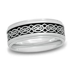 Zales Mens 9.0mm Checker Pattern Black Carbon Fiber Inlay Wedding Band in Black IP Titanium OZWEjVHAHh