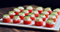 Watermelon Goat Cheese Bites For that Holiday Party! Pair this with a Japanese Bancha  #GreenTea...light and refreshing.