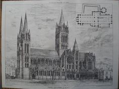 Truro Cathedral, S.W. View , Truro, Cornwall, England, UK J.L. Pearson, architect(s). From the American Architect and Building News, May 14, 1880. 12.25 by 16.5 inches. VG+ condition with light browni