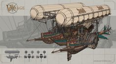 Voyage is a collaborative artbook that my friends, Kartasuharta, and Ken created, with the purpose of sharing our knolwedge and process of creating concept art. It is based off of the Voyage of SInbad, and here are some of the final concepts that I Steampunk Ship, Arte Steampunk, Flying Ship, Rpg Map, Prop Design, Environment Concept Art, Fantasy Landscape, Fantasy Artwork, Dieselpunk