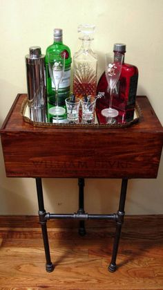 Wine Crate Side Table with Sliding Storage by LePetitMonster1, $215.00