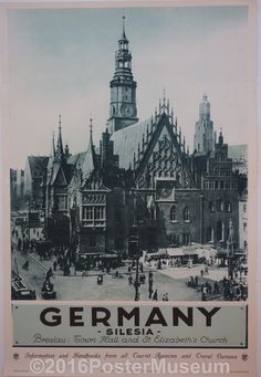 Germany travel poster. Circa 1935. Original. Breslau Town Hall and St. Elizabeth's Church