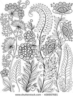 Coloring Book For Adults Meditation And Relax Decorative Wild Flowers Herbs Vector Elements