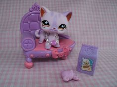 Littlest Pet Shop Rare Purple Siamese Cat W/Accessories FREE US Shipping #Hasbro