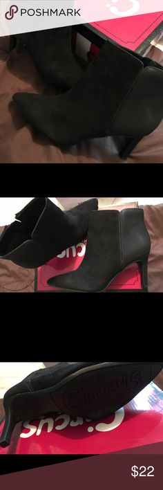 Women's bootie w/heel (never worn) Black suede/leather , zip up Circus by Sam Edelman Shoes Heeled Boots