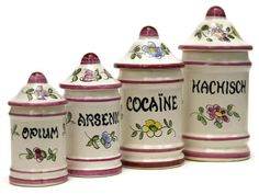 Cocaine, Opium, Hashish and Arsenic Apothecary Jar Set. Hand Painted Ceramic French Canister Set. Bathroom Decor.