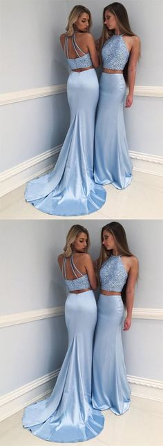 Stylish Light Blue High Neck Beaded Long Prom Dress,Two-Piece Mermaid Evening Dress,351