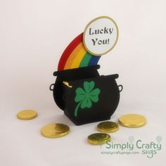 Pot O Gold Treat Box SVG File  Use our Pot O Gold Treat Box SVG File to make a cute little treat box shaped like a Pot of Gold. St. Patricks Day SVG Favor Box. Pot of Gold SVG #simplycraftysvgs
