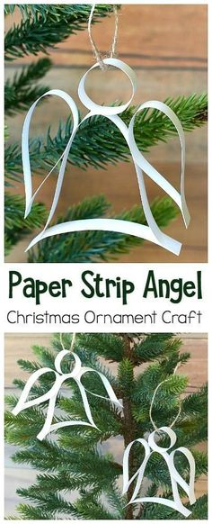 Easy Christmas Ornament Craft for Kids: DIY Paper Strip Angel Ornament! (Includes free printable template) These homemade Christmas ornaments are perfect to do last minute and can be done in under ten minutes. Great for kids of all ages and adults! ~ BuggyandBuddy.com #Christmascrafts #homemadeornaments #angels #angelornament #diyornament #craftforkids #kidcraft #freeprintable
