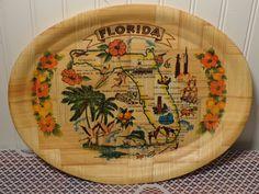 Vintage Bamboo Souvenir Tray - Florida Map Souvenir Tray  -  15-791 by BubbiesMemories on Etsy