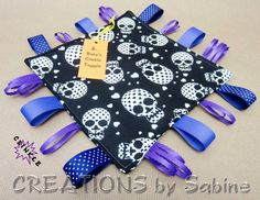 Baby Crinkle Taggie, Tag Toy, Ribbon Sensory, Tag Blanket, Gender Neutral, Purple, Black, White, Skulls, Pirate, Heart, READY TO SHIP