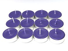 12-Pack Deep Purple Unscented Soy Tealight Candles