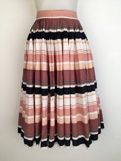 Vintage 1950s striped cotton skirt with by TheCrownStProject
