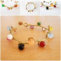 Candy Bead stone with Brass Bracelet, Bangle, Jewelry Handmade | GoldenWorld - Jewelry on ArtFire or see more at www.goldenworld-kwk.com