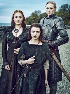 Sansa Stark (Sophie Turner), Arya Stark (Maisie Williams), and Brienne of Tarth (Gwendoline Christie)