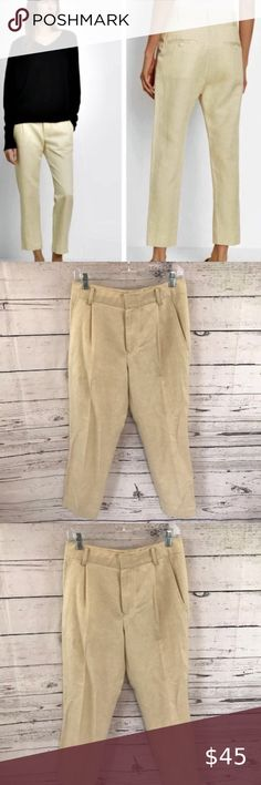 womens white linen size 8 cotton  cropped zip fly cargo pants//trousers