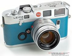 Leica M6 in Turquoise. Manufactured 1984-1998. Brilliantly clear lines and well thought out design. Epitomises the discerning design of German 20th cent. design.