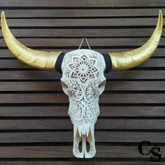 Hand Carved Buffalo Skull Head with Gold Horns, Floral Design, Animal Skull Head, Skull Bone Art, Skull Wall Mount Decor Bohemian Home Decor