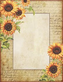 Printable Lined Paper, Free Printable Stationery, Old Paper Background, Sunflower Party, Sunflowers And Daisies, Beautiful Landscape Wallpaper, Decoupage, Sunflower Wallpaper, Frame Template