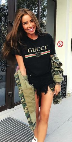 83678600 #fall #outfits women's black Gucci crew-neck t-shirt Black Gucci Shirt