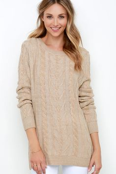 Game Day Beige Cable Knit  Sweater http://www.modandretro.com/game-day-beige-cable-knit-sweater/