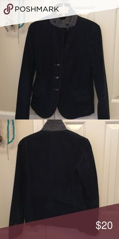 JCrew cord blazer Navy blue with tweed collar that can be worn up or down J. Crew Jackets & Coats