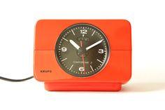 70s KRUPS Desk ALARM CLOCK - Bauhaus Panton Space Age Max Bill Era - Orange