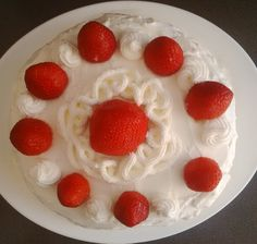 Cake decorated and filled with whipped cream and strawberries. A refreshing recipe to try this summer! This recipe is for 8 large servings! Ingredients: Cake: 5 eggs ¾ cups sugar 1 cup flour…