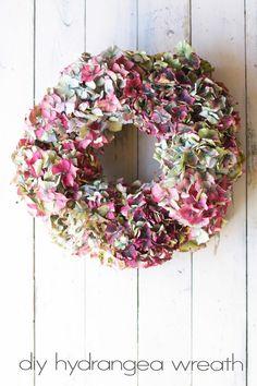 Hydrangea Christmas wreath by Gathered Threads