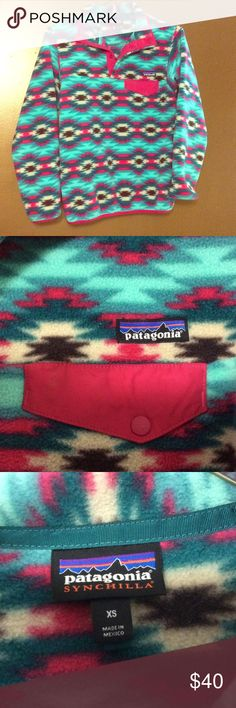 Patagonia Synchilla Snap-T Pullover NWOT! Never worn. Pink, green, cream, and brown colors with a pocket on the left chest. Patagonia Other