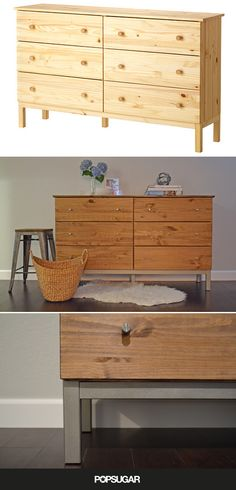 Ikea Hack - Im buying this same dresser and nightstands and spraypainting them white and replacing the hardware. Finally IKEA sells all hardwood furniture! Retro Furniture, Ikea Furniture, Furniture Makeover, Luxury Furniture, Ikea Hacks, Hacks Diy, Ikea Tarva Dresser, Modern Dresser, Industrial Dresser