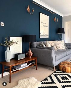 It's the same colour! Hague Blue in the living room. Instagram: @nest_twenty_eight Navy Living Rooms, Blue Living Room Decor, Blue Rooms, New Living Room, Living Room Designs, Living Room Wall Colours, Living Room Ideas, Colourful Living Room, Living Walls