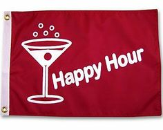 Happy Hour Martini 12x18 Outdoor Garden Flag . $13.99. Brass grommets. 12x18 Inches.. Made of durable nylon. Quality Outdoor Flag.. Double sided.. Happy Hour Martini 12x18 Outdoor Garden Flag Outdoor quality screen printed flag. Made of durable nylon. Double sided. Brass grommets. Size: 12x18