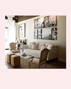 Narrow living room seating arrangement: couch, side chairs, ottomans with lucite coffee table