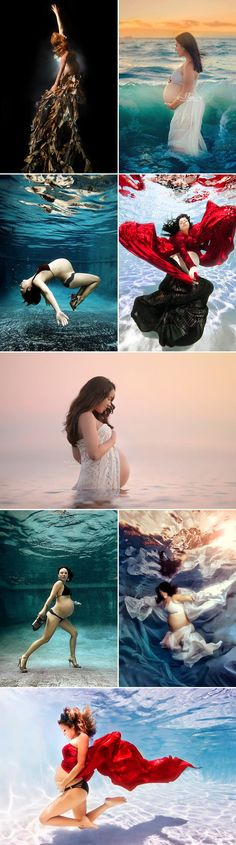 28 Modern and Captivating Themed Maternity Photo Ideas - Ocean Love & Underwater!