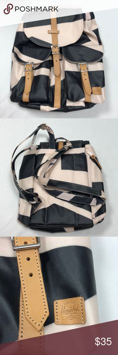 """Herschel Supply Co. Backpack Polyester & 100% genuine leather backpack - NEVER USED! - very small backpack if you're looking to use it for school. It fit my 13"""" laptop, but hardly anything else, so sadly I never used it. All pockets & zips are functional. Drawstring & snap closure on main opening. Stiff + durable! Herschel Supply Company Bags Backpacks"""