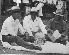 Caddo singers - 1938 L-R: Thomas Keys, Stanley Edge, Joe Weller
