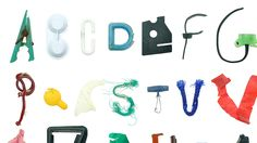 Marine Debris Typeface by Dion Star, exploring product and waste, assembles an alphabet, each letter a carefully selected bit of marine debris, collected at Wherrytown Beach in Cornwall, presented exactly as found.   Gloucestershire Resource Centre http://www.grcltd.org/scrapstore/