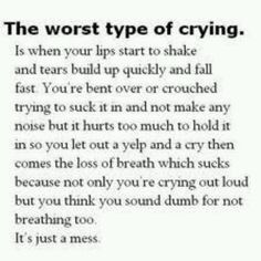 The worst type of crying....is when your lips start to shake & tears build up quickly & fall fast. You're bent over or crouched trying to suck it in & not make any noise but it hurts too much to hold it in so you let out a yelp & cry then comes the loss of breath which sucks because not only you're crying out loud but you think you sound dumb for not breathing too. It's just a mess.