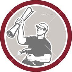 builder, building plan, carpenter, circle, construction, hammer, illustration, industrial, isolated, male, man, retro, tradesman, worker