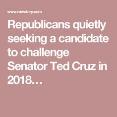 Republicans quietly seeking a candidate to challenge Senator Ted Cruz in 2018…