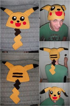 Crochet Pikachu Hat by Mormongoaliegurl on DeviantArt Pokemon Beanie, Pikachu Hat, Pikachu Crochet, Pikachu Pokeball, Crochet Game, Love Crochet, Crochet For Kids, Crazy Hats, Kids Hats
